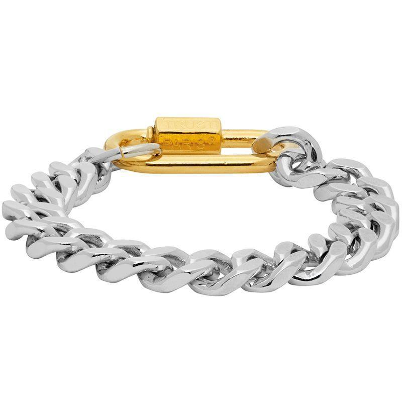 """<p><strong>In Gold We Trust</strong></p><p>ssense.com</p><p><strong>$215.00</strong></p><p><a href=""""https://go.redirectingat.com?id=74968X1596630&url=https%3A%2F%2Fwww.ssense.com%2Fen-us%2Fmen%2Fproduct%2Fin-gold-we-trust%2Fsilver-and-gold-cuban-link-bracelet%2F5783501&sref=https%3A%2F%2Fwww.esquire.com%2Fstyle%2Fmens-accessories%2Fg33325933%2Fbest-bracelets-for-men%2F"""" rel=""""nofollow noopener"""" target=""""_blank"""" data-ylk=""""slk:Buy"""" class=""""link rapid-noclick-resp"""">Buy</a></p><p>An all-time necklace style, now as a slightly-more-wearable, super-badass bracelet.</p>"""