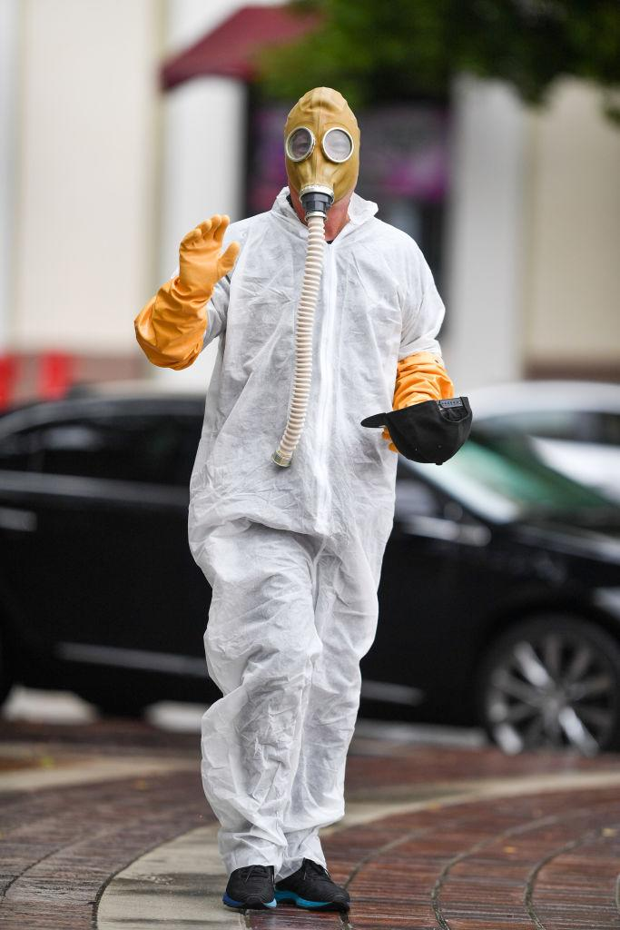 Howie Mandel wears a hazmat suit on March 10 in L.A. (Photo: PG/Bauer-Griffin/GC Images)