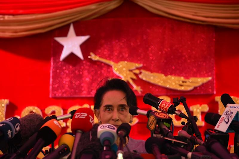 "Aung San Suu Kyi, whose National League for Democracy party were poised for a massive victory after a 25-year struggle, had earlier called for talks on ""national reconciliation"" (AFP Photo/Romeo Gacad)"