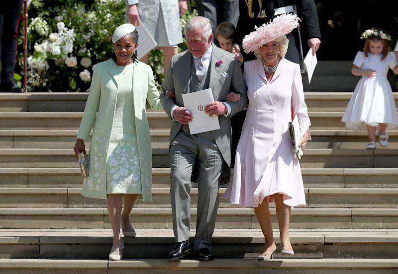 Doria Ragland, the Prince of Wales, and the Duchess of Cornwall leave St George's Chapel in Windsor Castle after the wedding of Prince Harry and Meghan Markle.
