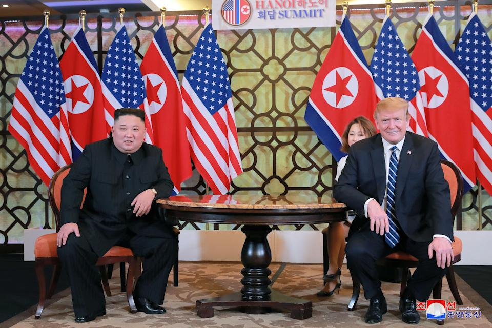 North Korea leader Kim Jong-un and US President Donald Trump meet for the second North Korea-US summit in Hanoi in February. (REUTERS)