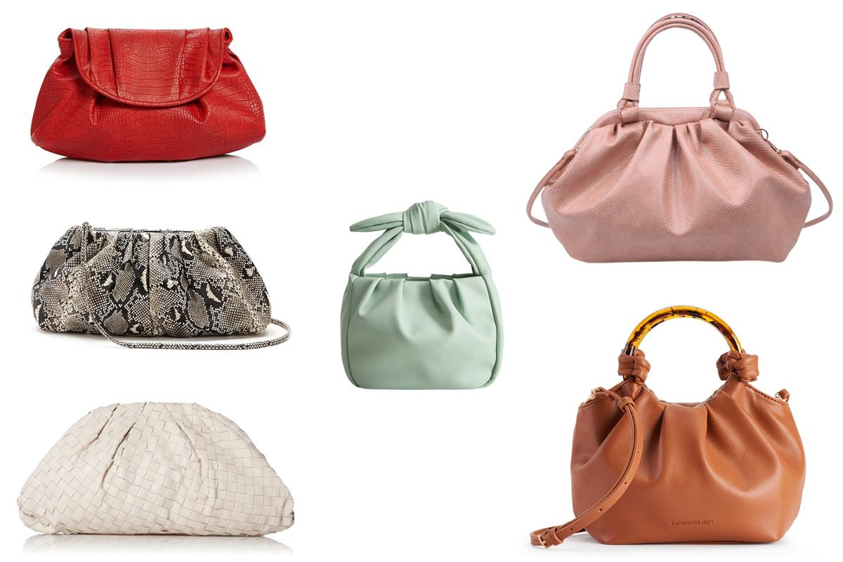 """<p>From pouches to satchels, voluminous soft shapes gives bags a modern lady-like look this season.</p> <p><strong>Buy It!</strong><em>From left to right:</em> Aqua Clutch, $88; <a href=""""https://click.linksynergy.com/deeplink?id=93xLBvPhAeE&mid=13867&murl=https%3A%2F%2Fwww.bloomingdales.com%2Fshop%2Fproduct%2Faqua-volume-clutch-100-exclusive%3FID%3D3563699%26amp%3BCategoryID%3D16958&u1=PEO%2CWhat%27sinforSpring%3AThe6BiggestTrendstoShop%2Csball1271%2CSty%2CGal%2C7736668%2C202003%2CI"""" target=""""_blank"""" rel=""""nofollow"""">bloomingdales.com</a>, Express Clutch, $49.90; <a href=""""https://www.express.com/clothing/women/soft-pleated-shoulder-clutch/pro/00956001/color/Neutral%20Print/"""">express.com</a>, Mango Bag, $39.99; <a href=""""http://www.anrdoezrs.net/links/7799179/type/dlg/sid/PEO,What'sinforSpring:The6BiggestTrendstoShop,sball1271,Sty,Gal,7736668,202003,I/https://shop.mango.com/us/women/bags-small/small-knot-bag_67004422.html?c=10"""" target=""""_blank"""" rel=""""nofollow"""">mango.com</a>, Urban Expressions Bag, $70; <a href=""""https://www.urbanexpressions.net/collections/all/products/jordan-1?variant=31325895360591"""">urbanexpressions.net</a>, Dune Lond Clutch, $205; <a href=""""https://www.dunelondon.com/en-us/emore-leather-woven-clutch-bag-ecru-0009510870003736/"""">dunelondon.com</a>, Elizabeth and James Bag,<em>Similar:</em>$79; <a href=""""http://kohls.sjv.io/c/249354/362118/5349?subId1=PEO%2CWhat%27sinforSpring%3AThe6BiggestTrendstoShop%2Csball1271%2CSty%2CGal%2C7736668%2C202003%2CI&u=https%3A%2F%2Fwww.kohls.com%2Fproduct%2Fprd-3983584%2Felizabeth-and-james-novelty-large-tote-bag.jsp%3Fcolor%3DGray%2520Taupe%26amp%3BprdPV%3D6"""" target=""""_blank"""" rel=""""nofollow"""">kohls.com</a></p>"""