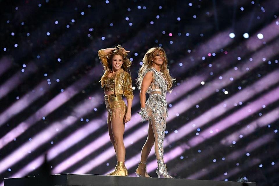 Shakira and Jennifer Lopez perform onstage during the Super Bowl LIV Halftime ShowGetty