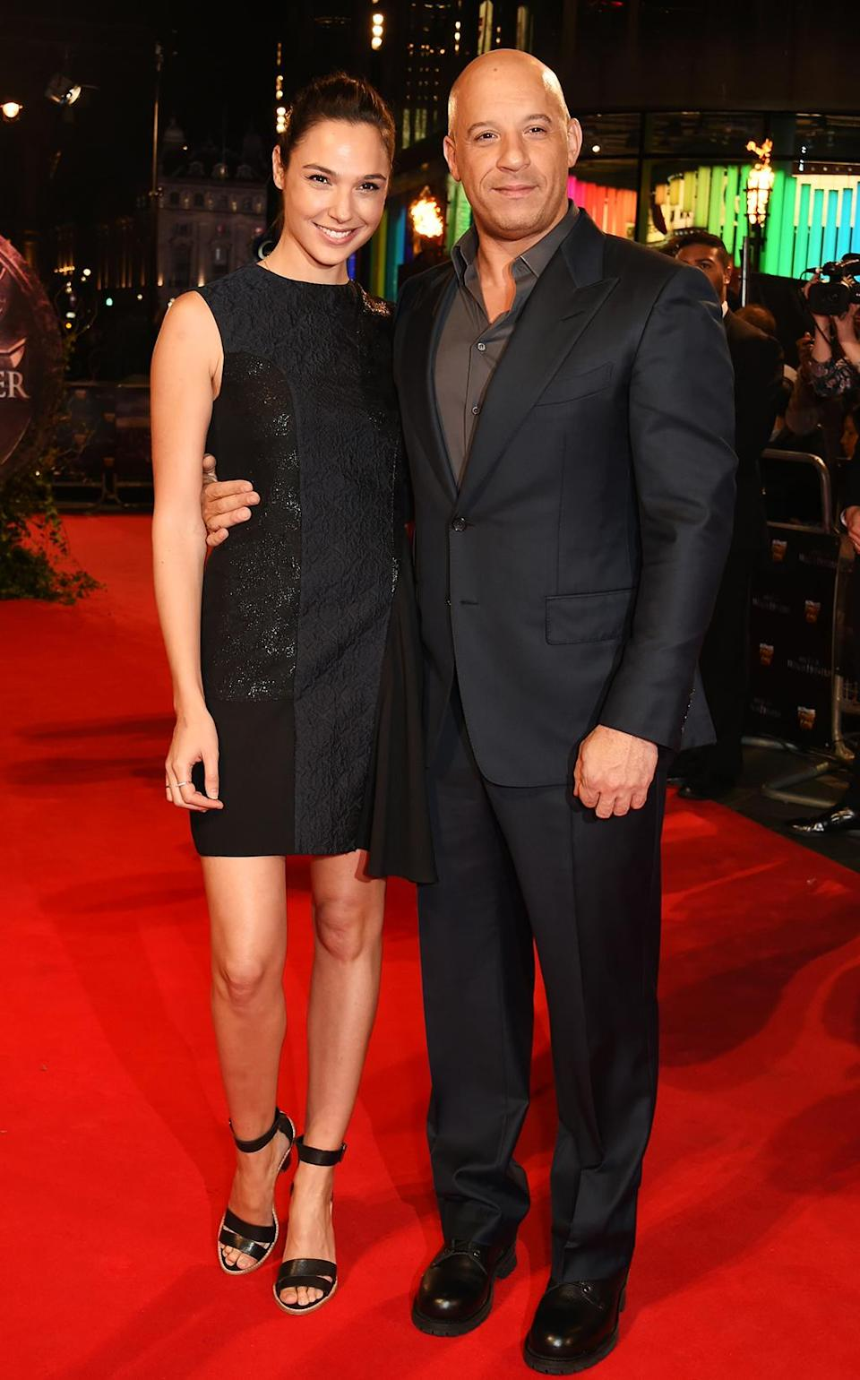 <p>Gadot supported her Fast & Furious co-star Vin Diesel at the London premiere of his new film on Oct. 19, 2015. (Photo: Dave Benett/WireImage) </p>