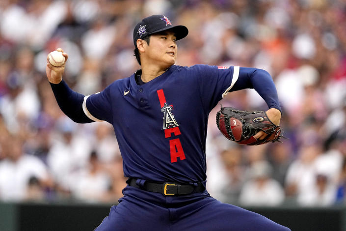 American League's starting pitcher Shohei Ohtani, of the Los Angeles Angeles, throws during the first inning of the MLB All-Star baseball game, Tuesday, July 13, 2021, in Denver. (AP Photo/Jack Dempsey)