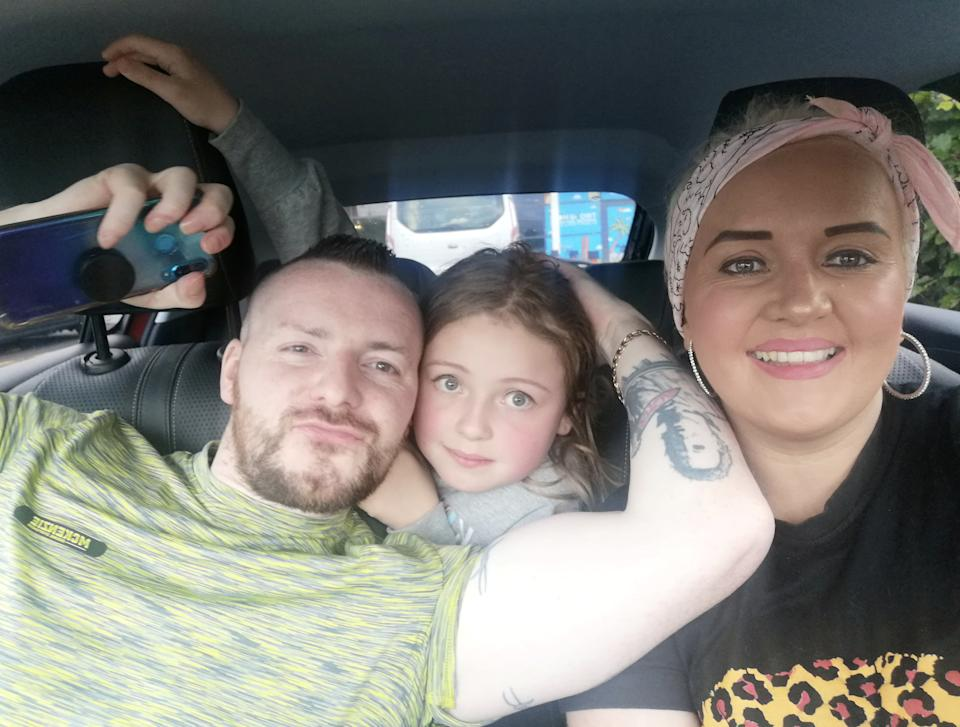 Ramsey is now recovering at home, pictured with daughter Rochelle Ramsey, and fiancee Sheryl Oribine. (SWNS)