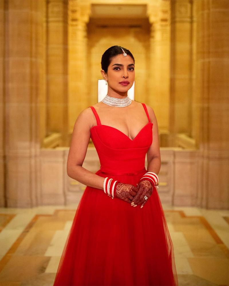 See the Red Dior Dress Priyanka Chopra Wore for Her Indian Wedding Reception