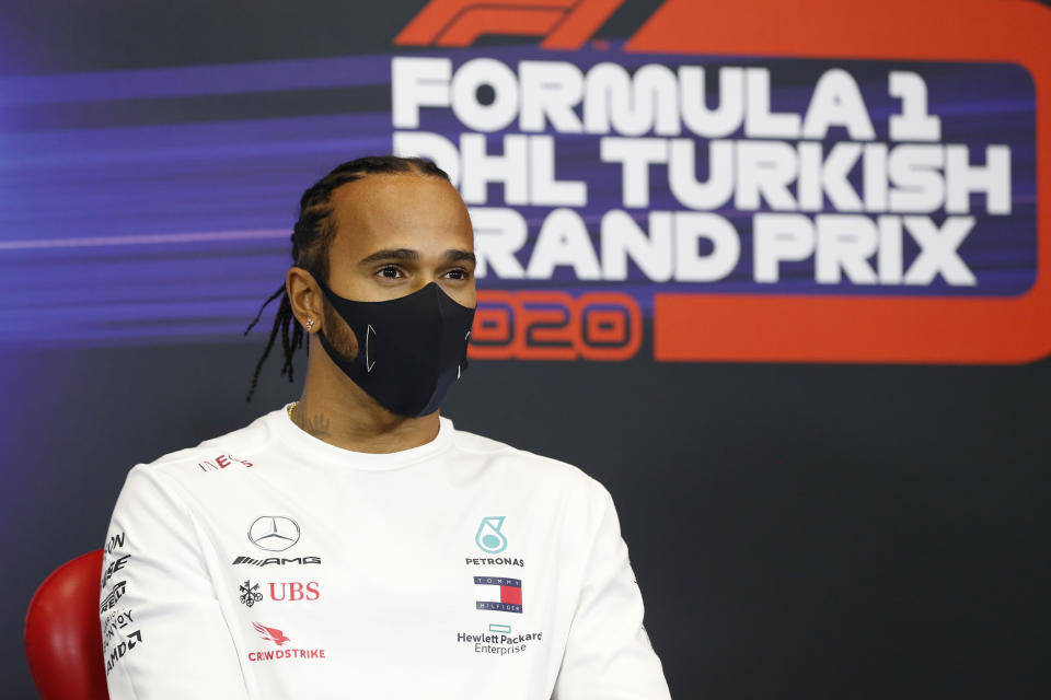 ISTANBUL, TURKEY - NOVEMBER 12: Lewis Hamilton of Great Britain and Mercedes GP talks in the Drivers Press Conference during previews ahead of the F1 Grand Prix of Turkey at Intercity Istanbul Park on November 12, 2020 in Istanbul, Turkey. (Photo by Antonin Vincent - Pool/Getty Images)