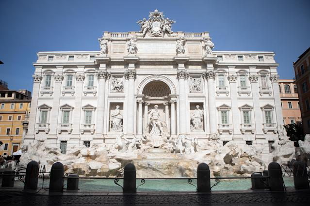 Trevi Fountain without people during the coronavirus emergency, on March 10, 2020, in Rome, Italy. (Credit: Andrea Pirri/NurPhoto)