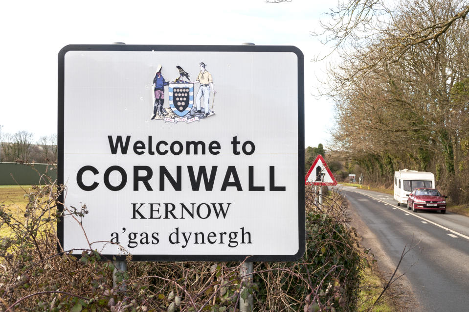 a sign welcoming visitors to the county of cornwall in southwest England, UK. (Photo by: Education Images/Universal Images Group via Getty Images)