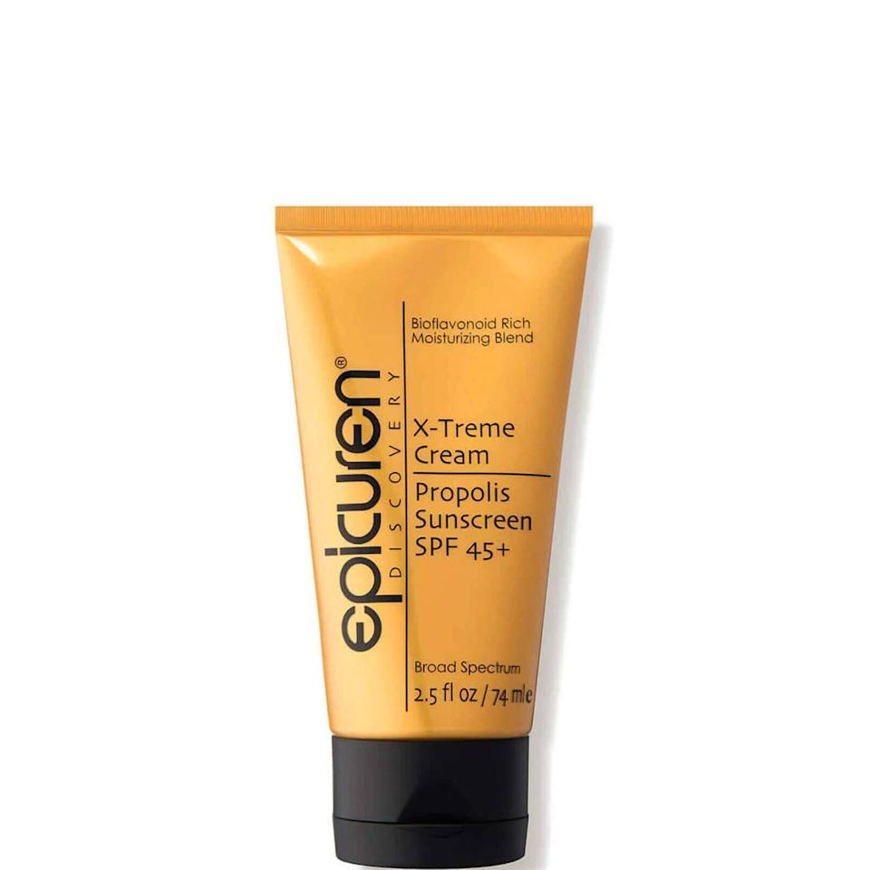 """<p><strong>Epicuren Discovery</strong></p><p>dermstore.com</p><p><strong>$43.00</strong></p><p><a href=""""https://go.redirectingat.com?id=74968X1596630&url=https%3A%2F%2Fwww.dermstore.com%2Fepicuren-discovery-x-treme-cream-propolis-sunscreen-spf-45-2.5-fl.-oz.%2F12902098.html&sref=https%3A%2F%2Fwww.townandcountrymag.com%2Fleisure%2Farts-and-culture%2Fg37093233%2Falexandra-daddario-white-lotus-travel-essentials%2F"""" rel=""""nofollow noopener"""" target=""""_blank"""" data-ylk=""""slk:Shop Now"""" class=""""link rapid-noclick-resp"""">Shop Now</a></p><p>""""When you're going to Hawaii, you have to have sunscreen,"""" Daddario notes. It's a priority for her especially: """"Because I'm so pale, I'm very, very into sunscreen.""""</p>"""