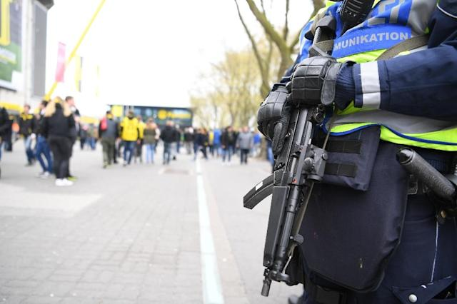 A heavy police presence on April 12, 2017, near the Westfalenstadion stadium ahead of Borussia Dortmund's quarter-final clash against Monaco (AFP Photo/PATRIK STOLLARZ)