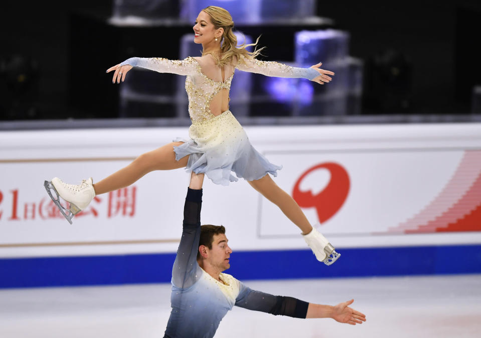 Alexa Knierim and Brandon Frazier of the USA perform during the Pairs Free Skating at the Figure Skating World Championships in Stockholm, Sweden, Thursday, March 25, 2021. (AP Photo/Martin Meissner)