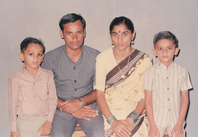 Prashant with parents and younger brother