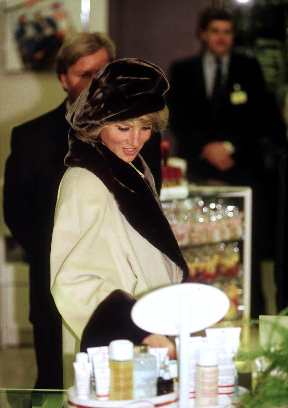 <p>Princess Diana browsed the merchandise in a department store in Germany in 1987. The Princess of Wales stopped by the store while in the country for an official royal visit. </p>