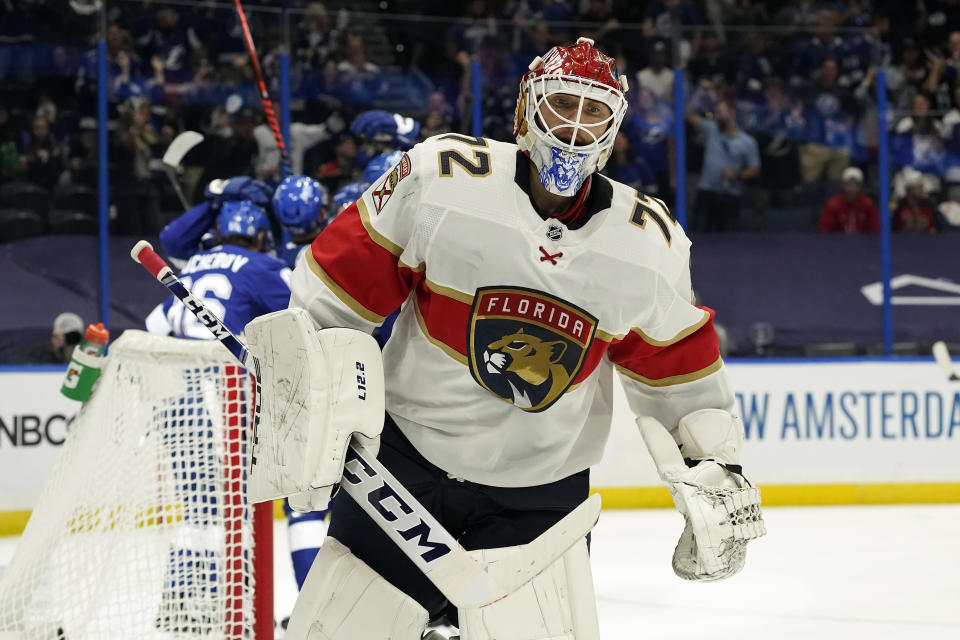 Florida Panthers goaltender Sergei Bobrovsky (72) reacts as the Tampa Bay Lightning celebrate a goal by Alex Killorn during the second period in Game 4 of an NHL hockey Stanley Cup first-round playoff series Saturday, May 22, 2021, in Tampa, Fla. (AP Photo/Chris O'Meara)
