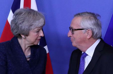 European Commission President Jean-Claude Juncker meets with British Prime Minister Theresa May at the European Commission headquarters in Brussels, Belgium February 7, 2019. REUTERS/Yves Herman