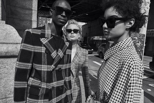 Models wearing sunglasses from the Off-White x Warby Parker collection. (Photo: Courtesy of Warby Parker)