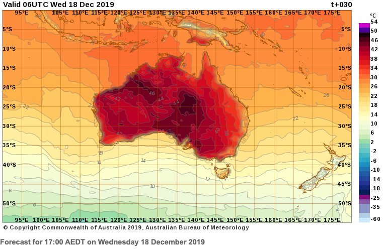 A Bureau of Meteorology map forecasts most of Australia will experience mid-30s to 40s temperatures on Wednesday at 5pm (AEST).