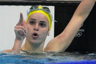 Kaylee Mckeown, of Australia, celebrates after winning the gold medal in the women's 200-meter backstroke final at the 2020 Summer Olympics, Saturday, July 31, 2021, in Tokyo, Japan. (AP Photo/Gregory Bull)