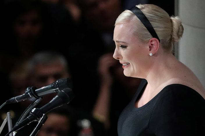 Meghan McCain delivers a powerful eulogy to her father at Washington National Cathedral. (Photo: Chris Wattie/Reuters)