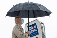 Democratic presidential candidate former Vice President Joe Biden, closes his umbrella as he boards his campaign plane at New Castle Airport in New Castle, Del., Thursday, Oct. 29, 2020, to travel to Florida for drive-in rallies. (AP Photo/Andrew Harnik)