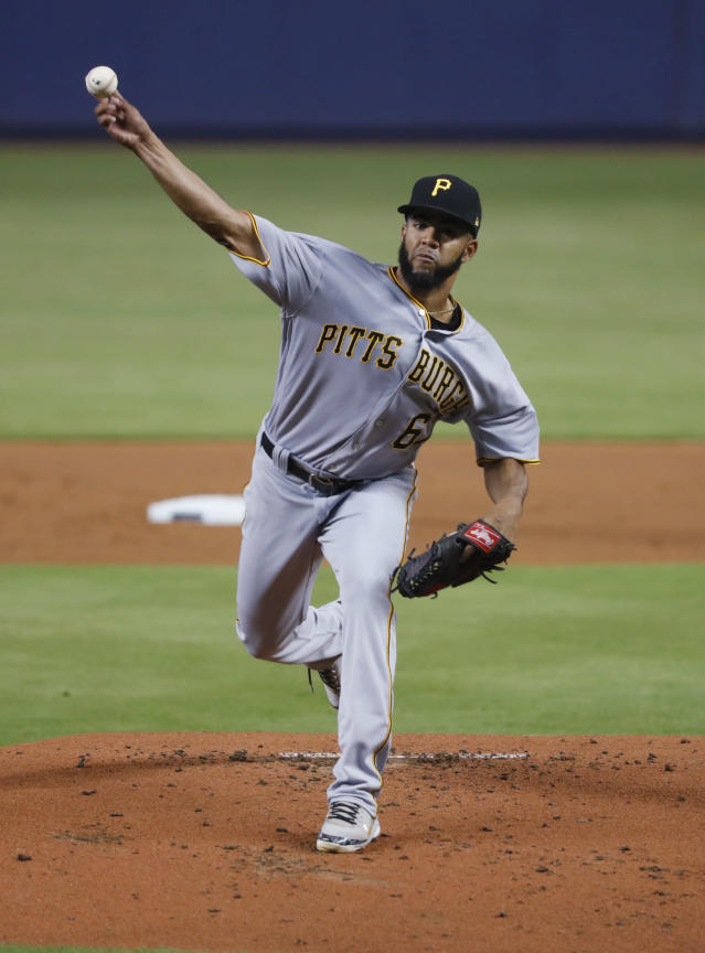 Pittsburgh Pirates' Dario Agrazal delivers a pitch during the first inning of the team's baseball game against the Miami Marlins, Saturday, June 15, 2019, in Miami. (AP Photo/Wilfredo Lee)