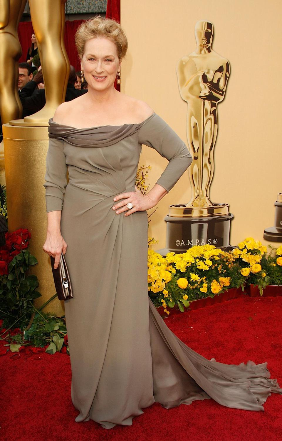 <p>There was no <i>Doubt</i> that Streep stunned on the red carpet in this fitted gown by Alberta Ferretti in 2009.</p>