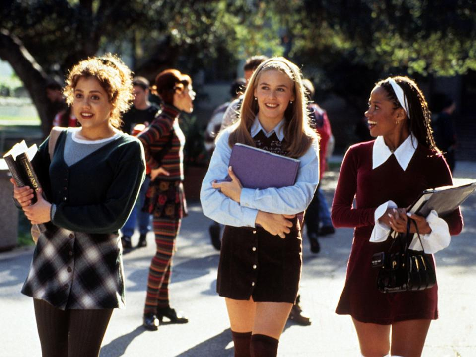 From L-R: Brittany Murphy, Alicia Silverstone and Stacey Dash in 'Clueless', which turns 25 this October (Rex Features)