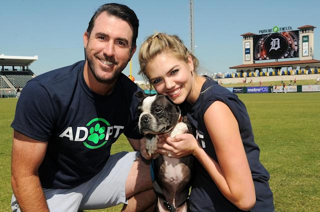 <p>Kate Upton, Justin Verlander and Wins for Warriors Foundation host Grand Slam Adoption Event Presented by Link AKC on March 18, 2017 in Lakeland, Florida to benefit SPCA Florida and K9s For Warriors. (Photo by Gerardo Mora/Getty Images for Wins For Warriors Foundation) </p>