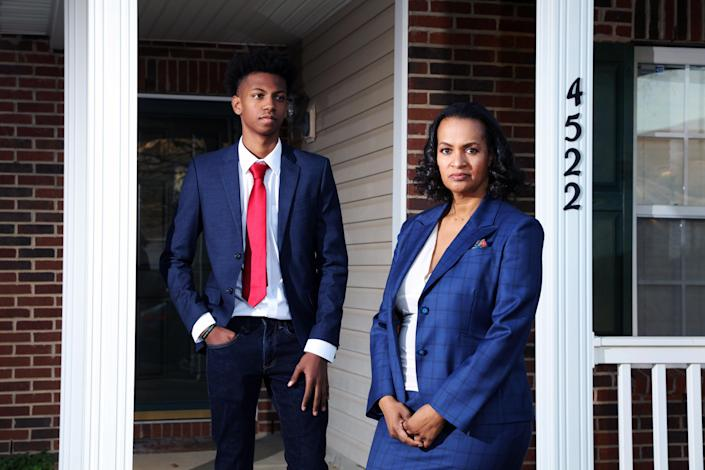 Faith Fox and her son Jamel in Charlotte, N.C., on Dec. 9, 2020. (Travis Dove/The New York Times)