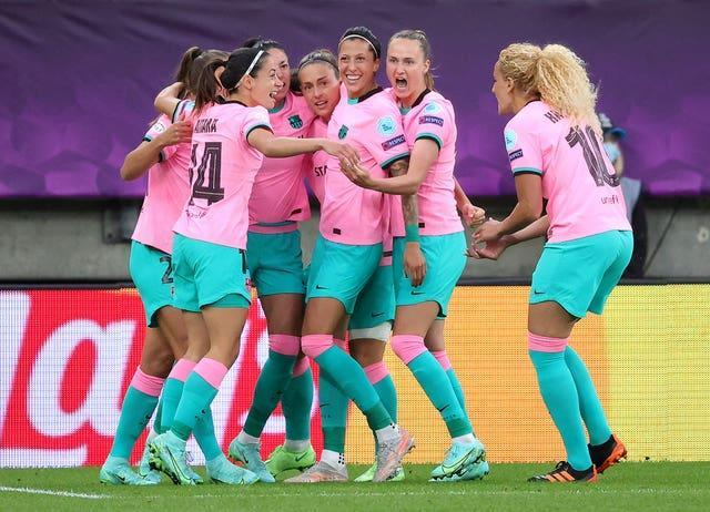 Barcelona celebrate during the Women's Champions League final