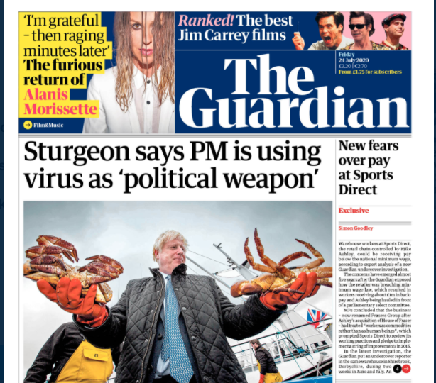 Scottish media published mixed reactions to Boris Johnson's visit to the country on Thursday
