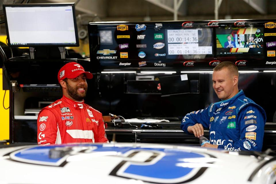 Bubba Wallace, left, and Ryan Preece at Charlotte Motor Speedway during practice for the 2021 Coca-Cola 600.