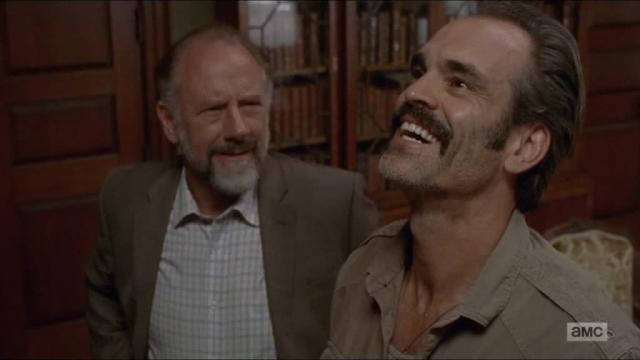 Xander Berkeley as Gregory and Steven Ogg as Simon in <em>The Walking Dead.</em> (Photo: AMC)