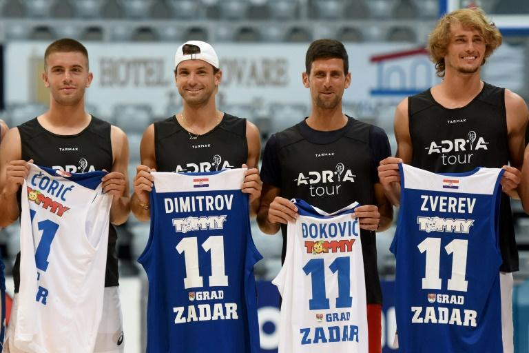 Borna Coric (l) pictured here with Grigor Dimitrov, Novak Djokovic and Alexander Zverev tested positive for coronavirus after taking part in an exhibition tennis tournament organised by Djokovic