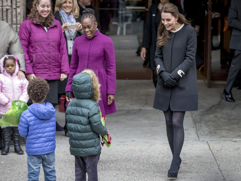 The Duchess of Cambridge and New York City's first lady, Chirlane McCray, at the Northside Center for Child Development in Harlem on Dec. 8, 2014. (Brendan McDermid/Reuters)