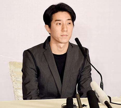 Jaycee Chan holds a press conference to apologise to the public after being released from the prison on Feb. 14 in Beijing, China.
