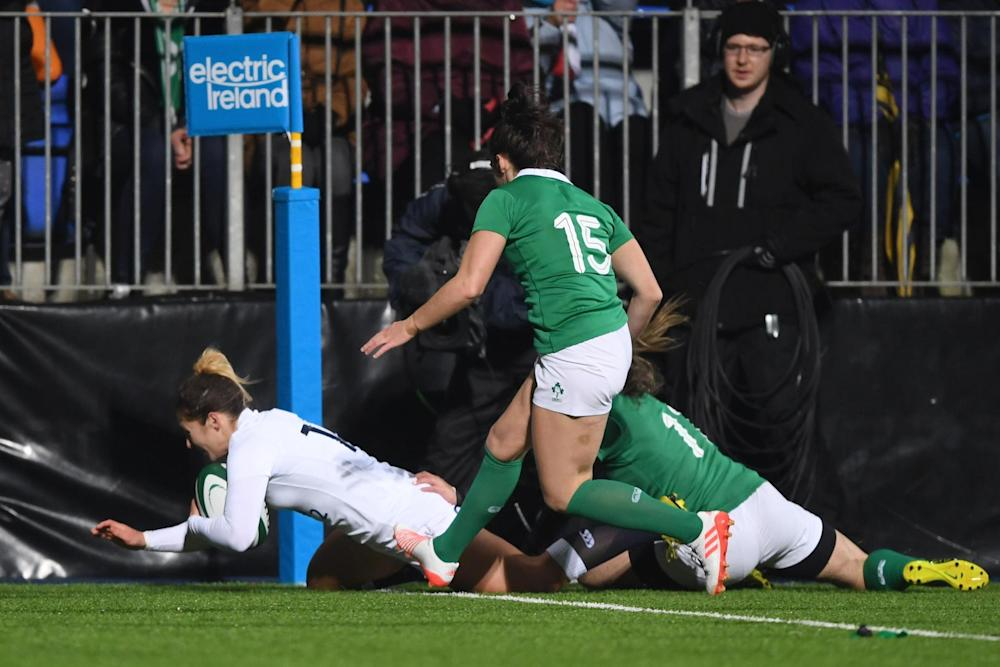 Try | Amy Wilson Hardy scores the opening try for England in Dublin: Getty Images