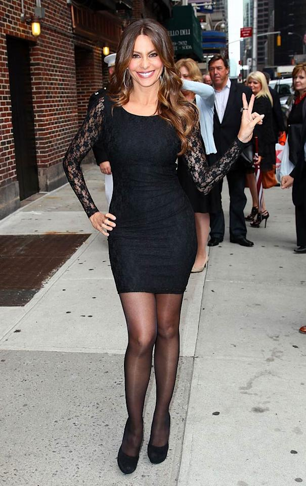 """Sofia Vergara heated up the streets of NYC in a lace LBD during an appearance on """"Late Show With David Letterman."""" No wonder the talk show host claimed the """"Modern Family"""" star made him so nervous he stuttered! (9/22/2011)"""