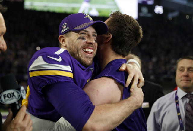 Case Keenum celebrates after the Vikings' improbable divisional round playoff win. (AP)