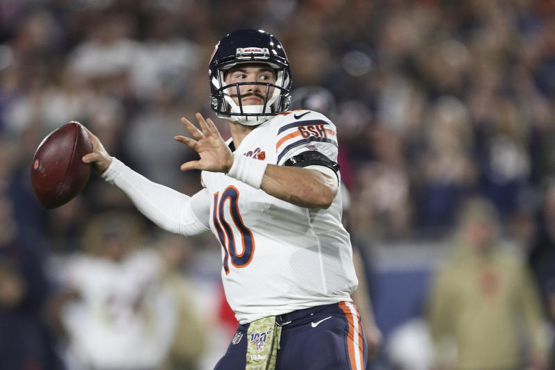 Quarterback Mitchell Trubisky didn't finish Sunday night's game. (Photo by Meg Oliphant/Getty Images)