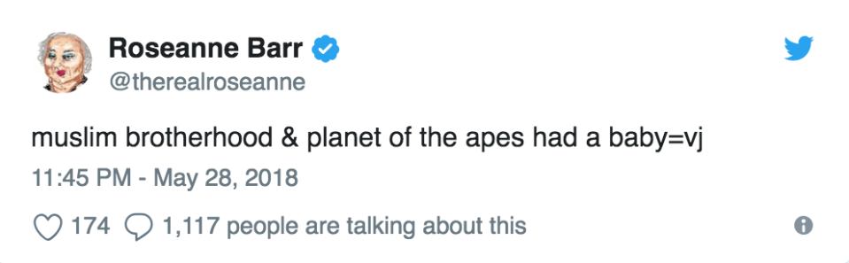 Roseanne Barr's tweet that resulted in her show being canceled by ABC. (Photo: @therealroseanne via Twitter)