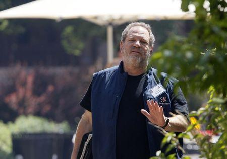 Hollywood film producer Weinstein gestures during the Allen and Co. media conference in Sun Valley