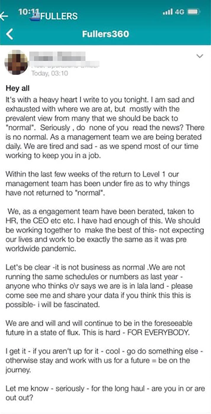 The letter said management had been under fire about why things hadn't yet returned to normal following the coronavirus pandemic. Photo: Facebook