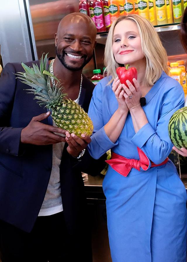 <p>This fun photo was all for a good cause! The actors did it to support the launch of this year's #DrinkGoodDoGood campaign to connect impoverished people with fresh fruits and veggies. Every time someone uses the campaign hashtag, Naked Juice has promised to donate 10 pounds of produce to communities in need. (Photo: Nicholas Hunt/Getty Images) </p>