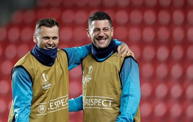 Soccer Football - Europa League - Villarreal training - Eden Arena, Prague, Czech Republic - November 1, 2017 - Villarreal's Denis Cheryshev and Daniele Bonera react during training. REUTERS/David W Cerny