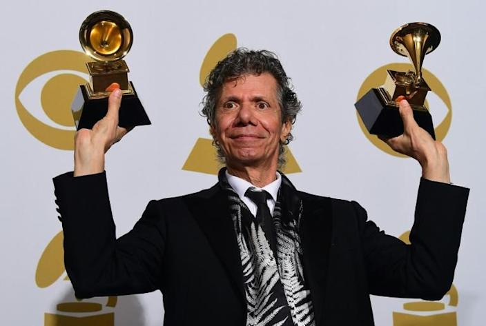 Chick Corea won 23 Grammy awards including the two seen here in 2015 for Best Improvised Jazz Solo and Best Jazz Instrumental Album