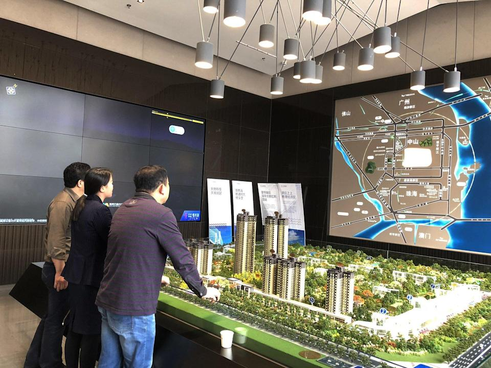 Potential buyers at the sales centre of Leading New Wave by Poly Property and Country Garden, in Zhongshan. Photo: Pearl Liu