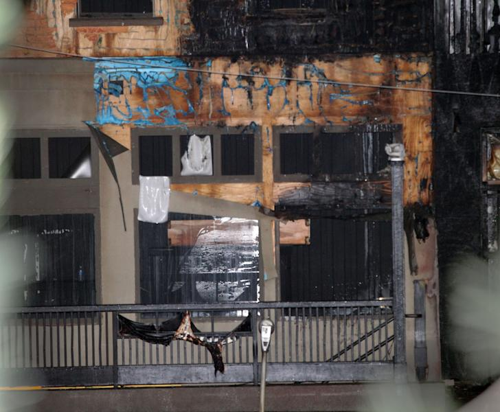 The facade of a building at Tyler Perry Studios in southwest Atlanta, shows damage caused by a fire, Tuesday night, May 1, 2012. Atlanta fire officials say they have put out the 4-alarm blaze at the studio that damaged a building at the complex. Atlanta Fire Department spokesman Capt. Jolyon Bundrige says the fire happened before 9 p.m. Tuesday and there were no reports of injuries. (AP Photo/Atlanta Journal-Constitution, Curtis Compton)